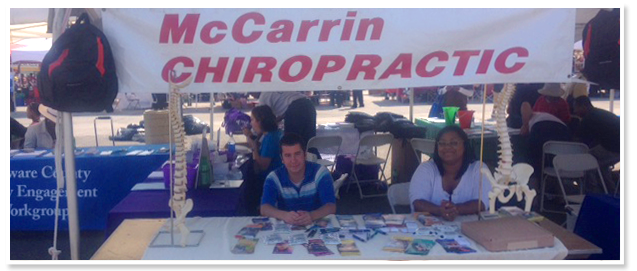 McCarrin Chiropractic booth at a local event